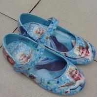 2014 Popular Girls Frozen Elsa Shoes Blue Color Girls Flats Shoes High Quality Princess Girls Shoes Size 25-30 Elsa Anna Print