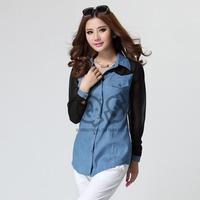 Autumn new jean chiffon patchwork turn down collar long sleeve shirts women casual shirt Q118
