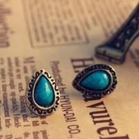 2014 New Brand Design  Korean Elegant Sweet Lovely Charming Simple Blue Gem Water Drop Earrings statement Jewelry Wholesale PT31