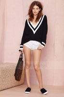 2014 Brand New Women's Sweater Autumn Winter Black White Patchwork High Quality Deep V-Neck Pullover Loose Knitted Sweaters