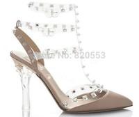 Brand Sexy T-strap  Wedding Shoes Womens High Heels Pointed Toe Pvc Pumps sapatos femininos