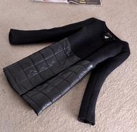 Winter Woollen Coat Jacket Women 2014 Outerwear Vinatge Patchwork Vintage Thick Black Down Jacket Coat Parka Overcoat