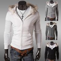 Thick hoodies free shipping, the wool collar warm men hoodies with a hood  winter zipper coat outwear  size  M-XXL