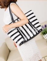 OL joker striped  women summer leisure fashion zipper handbags interior zipper pocket cell phone pocket free shipping