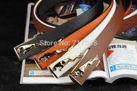 2014 South Korea New fashion Men Smooth buckle belt Men's Lady Candy color belt women Metal agio trouser belt Ms PU leather belt