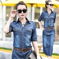 S~3XL! 2014 New Autumn Winter Big Plus size long denim dress for women rivets vintage casual jeans dress tunic vestido de festa