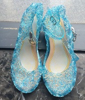 2014 New Frozen Snow Queen Elsa Anime cosplay shoes Fashion Lolita sweet Children's shoes Costume Play blue Girls shoes