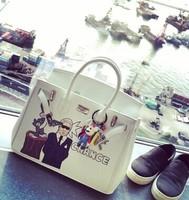 Free shipping Super lovely cartoon scrawl handbag originality designer brand woman tote bag lock black white bag kawai girl bag