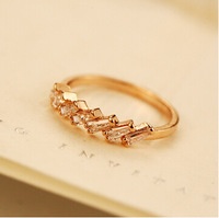 YTJZ025 Twinkling High Quality Real Dolg Plated With CZ Crystal Wedding Party Gift Rings For Women Vintage Anel Ouro Jewelry