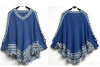 Free Shipping Korean New Style 2014 Autumn and Winter fringed shawl cloak loose V-neck Female sweater Jacket #06182