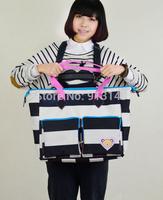 Striped  solid bag women summer leisure fashion zipper handbags interior zipper pocket cell phone pocket free shipping