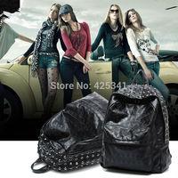 2014 New Men Women Punk Skull Rivet  Skeleton PU Leather Schoolbag Backpack Travel Shoulder Bag