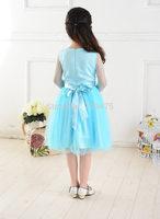 1 set free shipping Girl Long Sleeve Blue Lace Tutu Draped Dress Frozen Princess Mesh Satin Dress