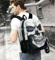 Men Women Punk Skull PU Leather Schoolbag Backpack Travel Shoulder Bag