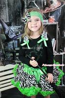 Halloween Rhinestone Tinker Bell Black Top Green Zebra Baby Girl Pettiskirt 1-8Y MAMG1220