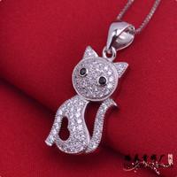 LSP867 Micro pave setting zircon pendants cute cartoon silver pendants women Christmas gift,  free shipping