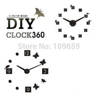 Free shipping Creative Bird or Butterfly style 3 D digital DIY wall clock fashion gift clock,WC-17