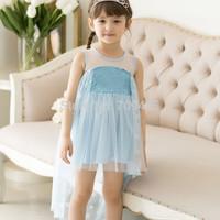 1 set free shipping Girl Summer Sleeveless Sundress Blue Lace Dress Frozen Princess Mesh Paillette Dress