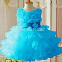 2014 Hot Girls dresses 1PCS Retail sleeveless Waist Chiffon Toddler 3D Flower Tutu Layered Princess Party Bow Kids Formal Dress