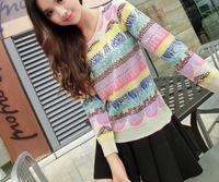 Korean version of the 2014 new candy-colored jacquard knit pullover jacket Women