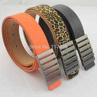 2014 New fashion South Korea Men metal Smooth buckle belt Men's Lady Leisure joker leather belt women trouser belt Free shipping
