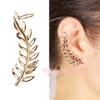 Leaf shape women's gold plated earring clip elegant style rhinestone clip earring ear cuff female