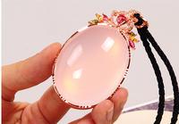 AAAA++ Natural pink crystal drop pendant rose quartz necklace free shippingFashion pendant wholesale price