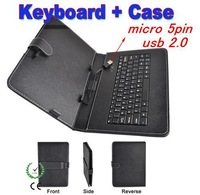 """Universal 10.1"""" Micro USB 5Pin Keyboard Leather Cover Case For Tablet PC 10.1 inch Keyboard Case Stand Business Shell Keyboard"""