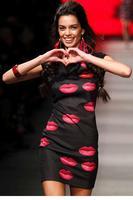 Red Lips Print Bodycon Mini Dress  LC21613