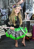 Halloween Rhinestone Cat Black Pettitop Girl Green Zebra Pettiskirt Outfit 1-8Y MAMG1226