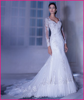 Free Shipping Full Sleeve Lace Mermaid Gown Wedding Dress, Bridal Gowns 2014 Style 4323