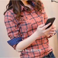 Blusas Femininas New 2014 Autumn Casual Plaid Shirts Long Sleeve Cotton Shirts Tops For Women Ladies M/XXL Button Down Collar