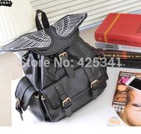 Women Fashion New Angel wings Girl's PU Leather Backpack Student handbags Black