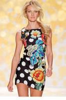 Black Dot Flower Print Vest Mini Dress  LC21614