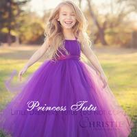 Princess Girl Tutu Dress Elegant  Purple Mint Green Ribbon Bow Special Occasion Dress for Graduation Evening Prom Wedding Party