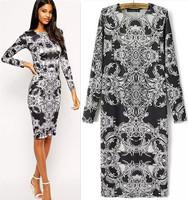 201409 New Fashion Cute Floral Print Autumn/Winter Knee-Length Dress Women Clothing Lady Long Sleeve Temperament  Vintage