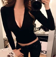2014 autumn fashion new winter waist tight low-cut V-neck sexy long-sleeved knit shirt top sweater