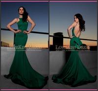 2015 Vestido De Festa Sexy Halter Neck Sleeveless Slim Mermaid Long Satin Green Prom Evening Dresses DYQ3075