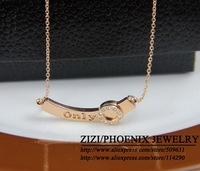 SYN014 Wholesale 2014 14k Rose gold Stainless steel Letters Pendants Necklaces shorts women collier colares femininos