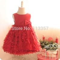 2014 hot selling elegant baby princess dress flower girl dress kids girls wedding party wear children dress blue 2-7 age