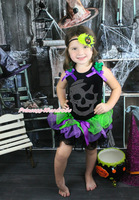 Halloween Rhinestone Skull Black Top Baby Girl Purple Petal Pettiskirt NB-8Year MAMH123