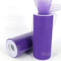 """Free Shipping 6"""" 25 Yard 75 Feet Purple Wedding Tulle Roll Spool Tutu Party Gift Craft Bow Wrap Birthday Wedding Decoration"""