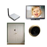 5.8G Wireless Door Camera--TE50 (Pure brass material;13.8mm diameter;90 degree VOA;0.008lux;720X480pix;100m range)