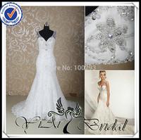 RSW570 Shoulder Straps Silver Beaded Backless Mermaid Wedding Dress 2014