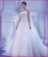 Free Shipping Strapless Full Tulle A-line Gown Wedding Dress, Bridal Gowns YOUNG SOPHISTICATES 2014 Style 2871