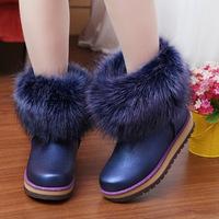 2014 New Fashion Winter Boots Ankle Plush Women Rain Boots Artificial Fox Fur Flats Warm Shoes Snow Soft Waterproof Boots A218
