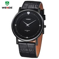 WEIDE Luxury Ultra Thin Solid Stainless Steel Ronda Quartz Genuine Leather Band Business Dress Black Watch Men Wristwatches