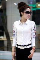 Hot sale Fashion Printed Blouse Europe big yard career Printed Lady Vintage Design Long Sleeve Slim Women Shirt S ~ XXL