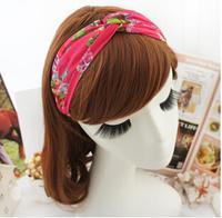 Free Shipping Floral Retro Chiffon Cross Knot Elastic Stretch Hair Headwarp / Hairwrap/Head Turban 20pcs/Lot