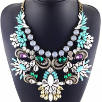 Fashion ZA Brand luxury Crystal Necklaces & Pendants Waterdrop Resin Vintage Choker Statement Necklace Women Jewelry